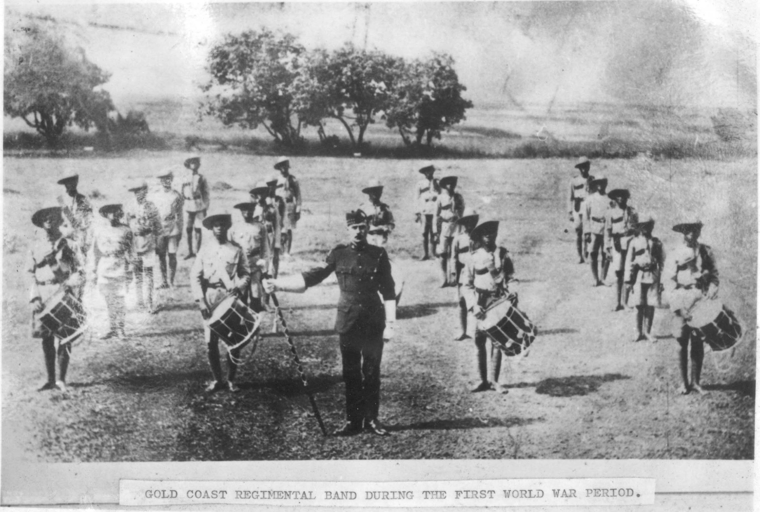 Gold Coast regimental band with white officer