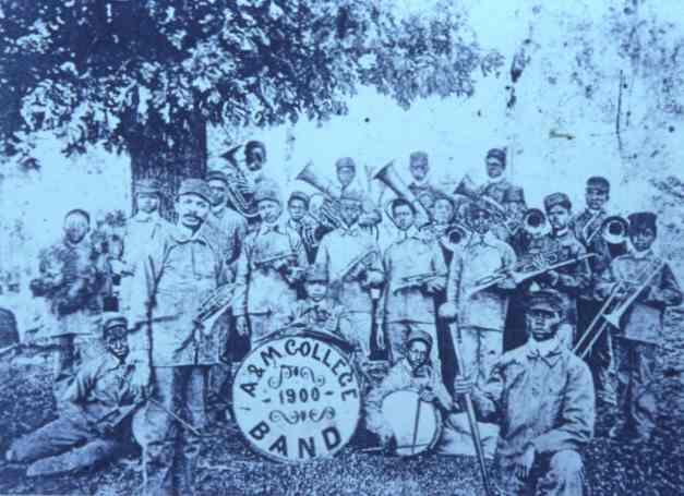 W.C. Handy and brass band in uniform