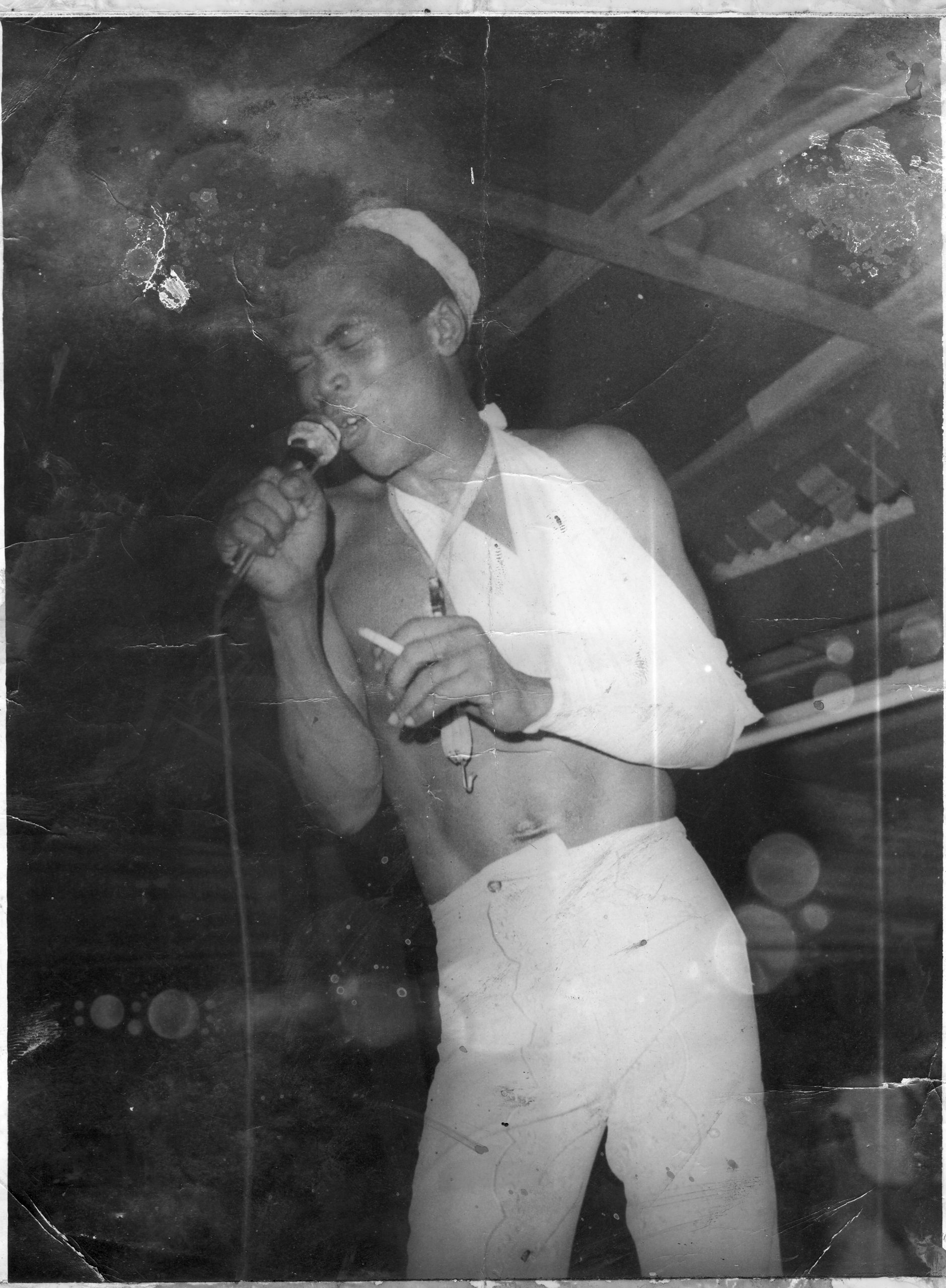 Fela Kuti in bandages after his 1974 court